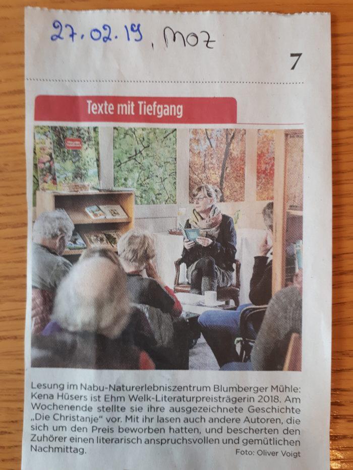 Ehm Welk-Literaturpreis, Lesung in Angermünde
